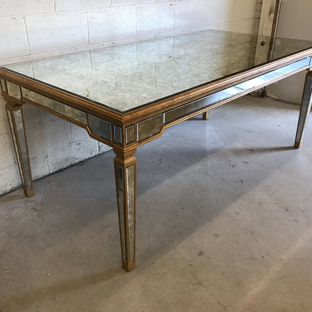 Antiqued Mirrored Dining Table With Gold Leaf Trim For Sale - Image 4 of 10