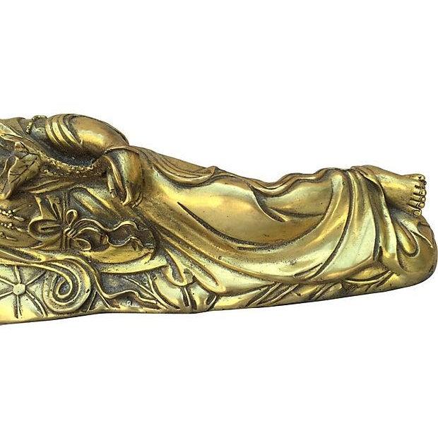Quan Yin Brass Reclining Statue - Image 5 of 7