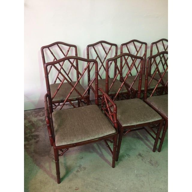 Asian 1960s Vintage Rosewood Chinese Chippendale Style Faux Bamboo Dining Chairs- Set of 8 For Sale - Image 3 of 13