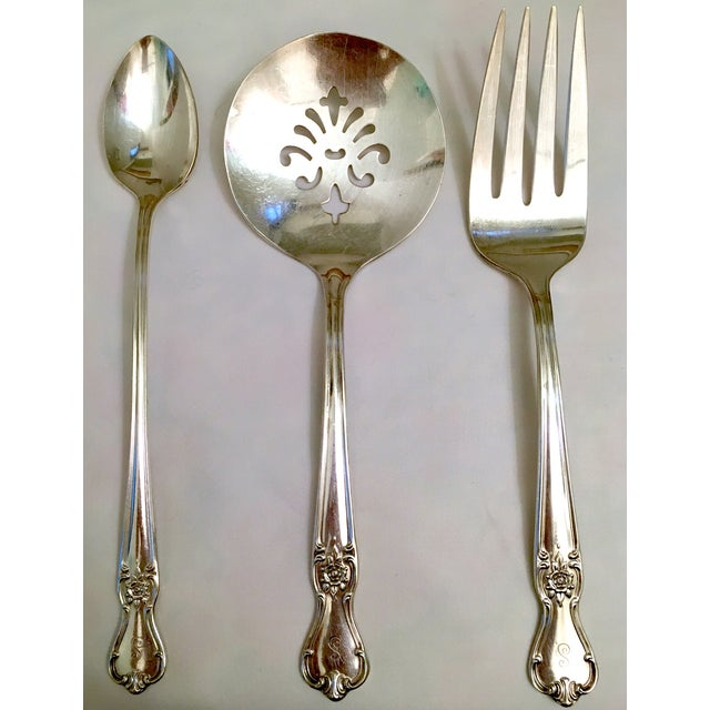 Engraved Serving Silverware - Set of 11 For Sale - Image 5 of 6