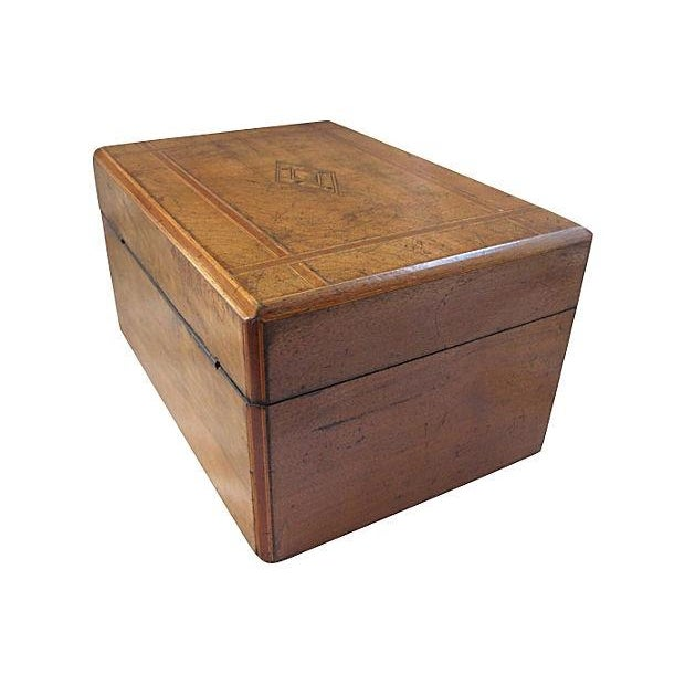 Antique Inlaid Wood Document Box - Image 4 of 4
