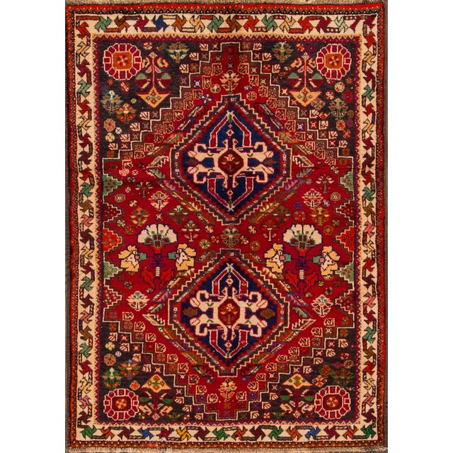 """Textile Mid-20th Century Vintage Persian Shiraz Rug, 3'6"""" X 5' For Sale - Image 7 of 7"""