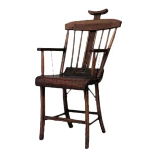 American Country (19th Cent) Stained Pine Arm Chair With Spindle Back and Adjustable Headrest For Sale