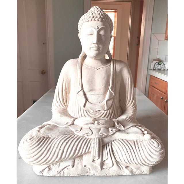 Boho Chic Large Stone and Plaster Cast Buddha For Sale - Image 3 of 13