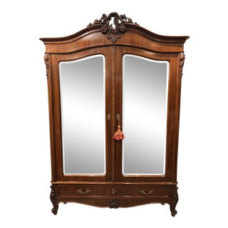 Vintage Mirrored Two Door Wood Armoire