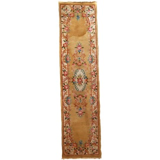 1970s, Handmade Vintage Art Deco Chinese Runner 2.3' X 9.9' For Sale