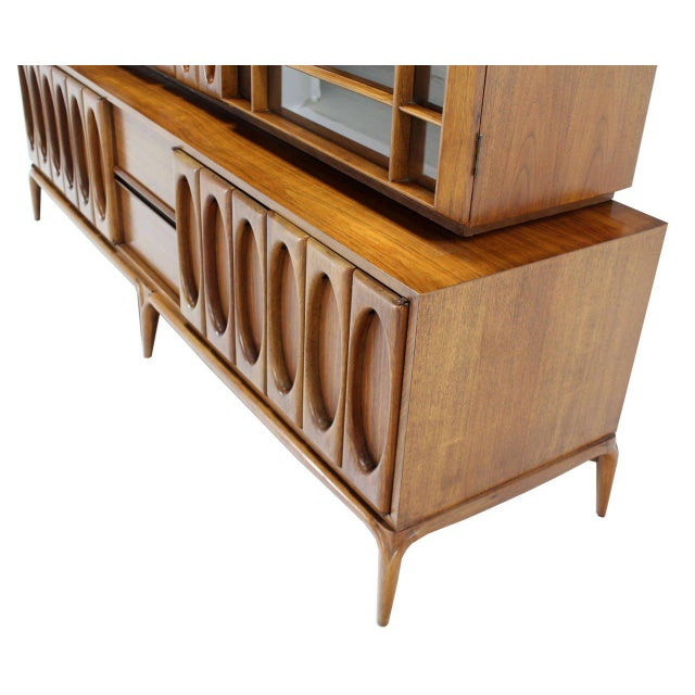Danish Modern Large Heavily Carved Front Walnut Two Part Breakfront Bookcase Cabinet For Sale - Image 3 of 7