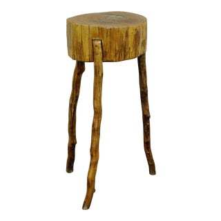 Handmade Robert Powchik Rustic Log Tree Branch Primitive Table