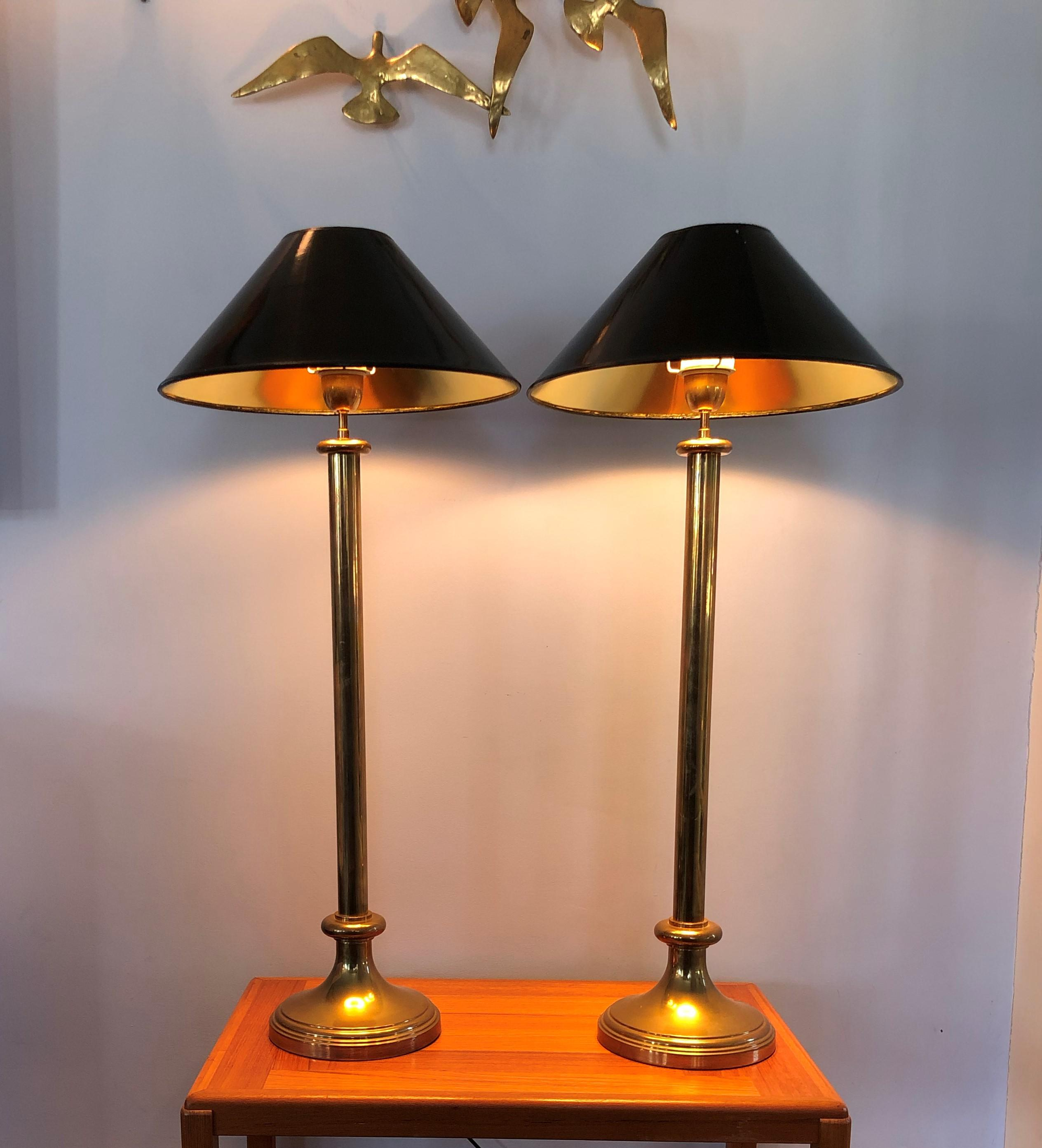 Hollywood Regency Brass Candlestick Lamps   A Pair   Image 3 Of 6