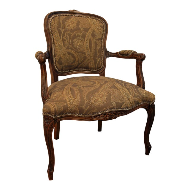 Vintage French Carved Ladies Fauteuil Arm Chair - Image 1 of 11