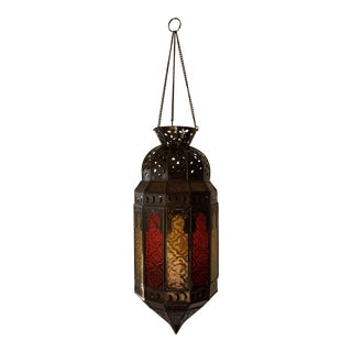 1970s Moroccan Red and Yellow Glass Panel Hanging Lantern For Sale