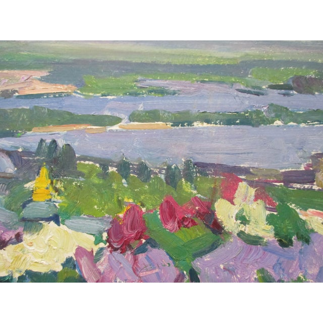Large Oil on Canvas Painting of Nature With Islands in the Background For Sale - Image 4 of 6