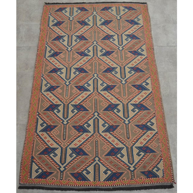 "Vintage Turkish Handmade Kilim Rug - A wool on wool, Turkish braidedKilim rug that is in used condition. Size: 42.5"" x..."