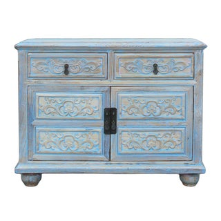 Shabby Rustic Light Blue High Credenza Cabinet For Sale