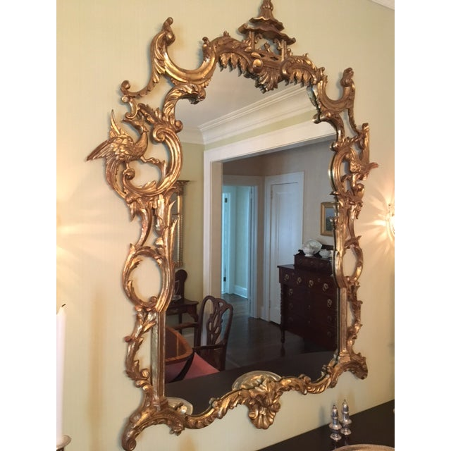 Early 20th Century Chinese Chippendale Style Giltwood Mirror With Pagoda Top For Sale - Image 5 of 11