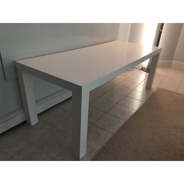 Modern Modern White Lacquer Table For Sale - Image 3 of 6