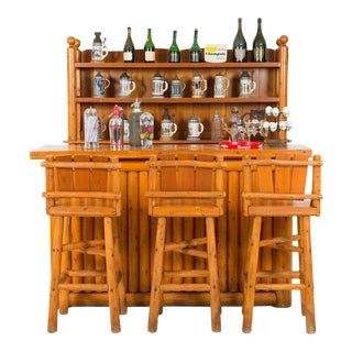 1950s American Old Hickory Style Pine Bar Furniture - 6 Pc. Set For Sale