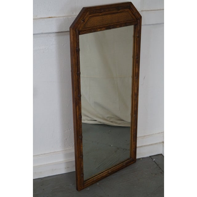 Vintage Walnut Faux Bamboo Frame Wall Mirror - Image 9 of 10