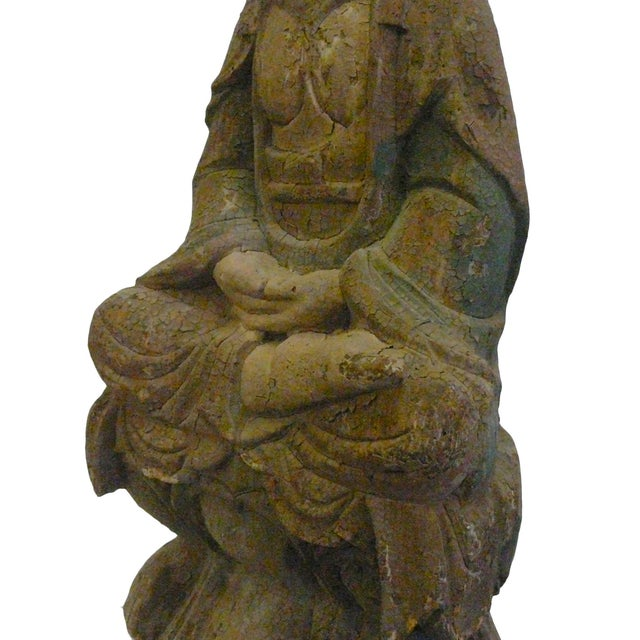 Chinese Rustic Distressed Wood Kwan Yin Statue For Sale In San Francisco - Image 6 of 6
