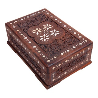 1960s Vintage Hand Carved Inlaid Box For Sale