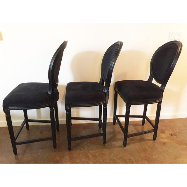 Black Velvet French Bar Stools - Set of 3 - Image 3 of 4