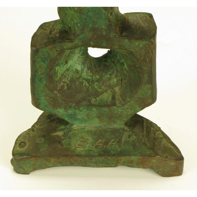Pair Bronze Male & Female Abstract Sculptures, Signed. - Image 9 of 10