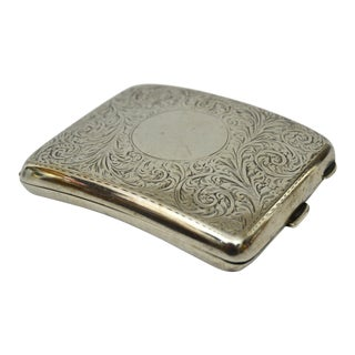 1920s Antique English Sterling Cigarette Case For Sale