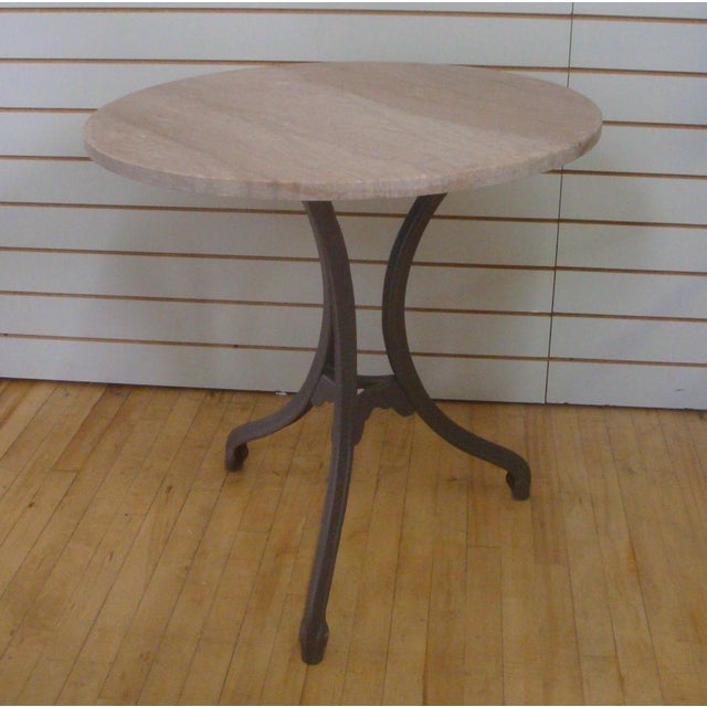 Tripod Pedestal Iron Bistro Table With Pink Granite Round Top For Sale - Image 4 of 5