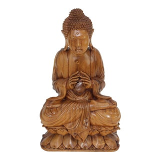 Hand Carved Wooden Buddha For Sale