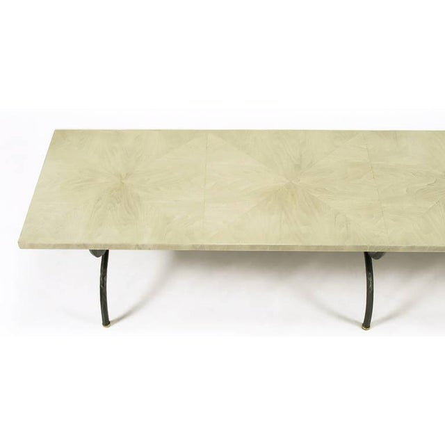 Tomlinson Driftwood Glazed Coffee Table with Triple-Curule Forged Iron Base For Sale In Chicago - Image 6 of 8
