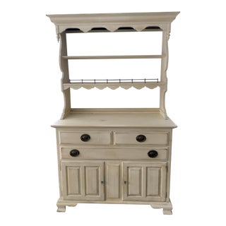 Ethan Allen Painted Yellow Hardwood Hutch