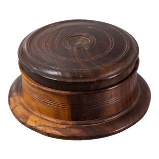 Antique Georgian Lignum Vitae Lidded Round Box For Sale