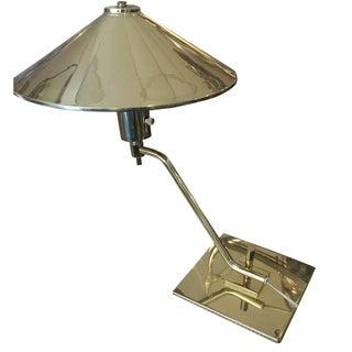 Mid-Century Brass Saucer Desk Lamp For Sale