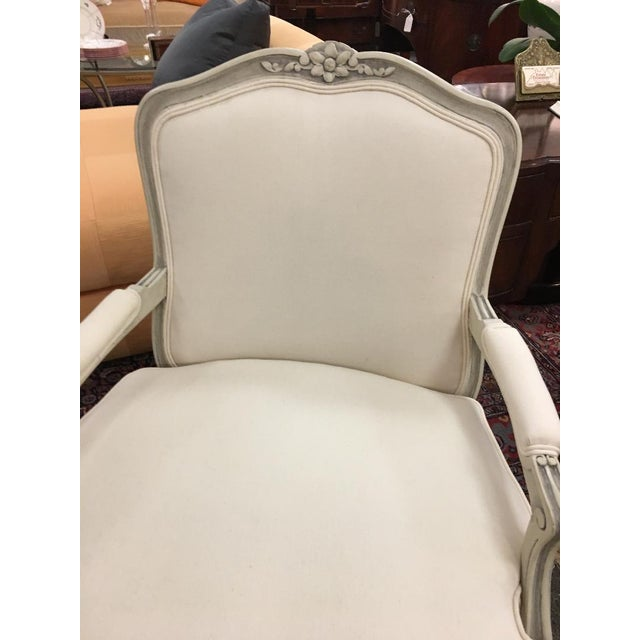 Pair Ivory Newly Re-Upholstered Louis XVI French Style Arm Chairs