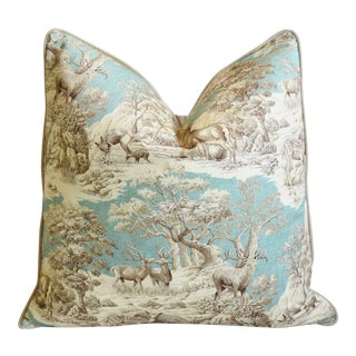 "Woodland Toile Deer & Velvet Feather/Down Pillow 25"" Square For Sale"