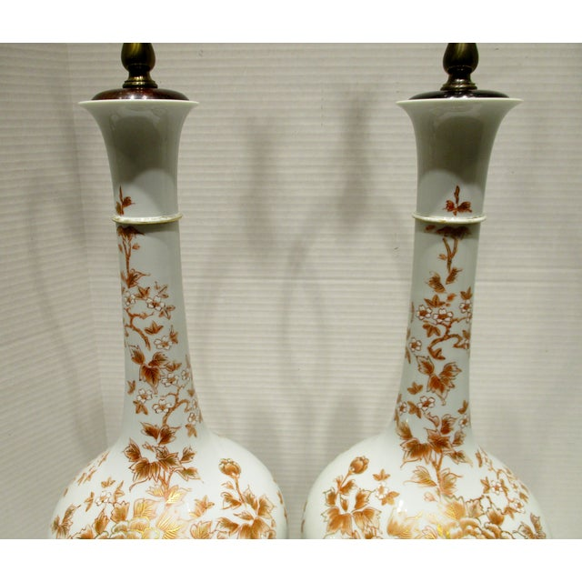 Large 1950s Japanese Hand Painted Porcelain Vases Mounted as Lamps - a Pair For Sale - Image 4 of 11