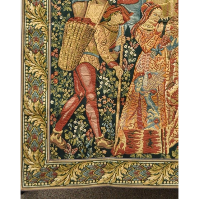 """70""""x 62"""" French Wall Hanging Tapestry Jacquard Mille-Fleures Medieval Winemakers For Sale - Image 5 of 10"""