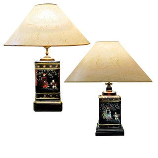 1950s Frederick Cooper Tea Tin Lamps on Wood Base With Cooley Hat Shaped Shades - a Pair For Sale