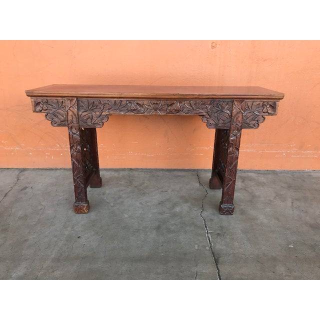 Asian Chinese Carved Altar Table For Sale - Image 3 of 10