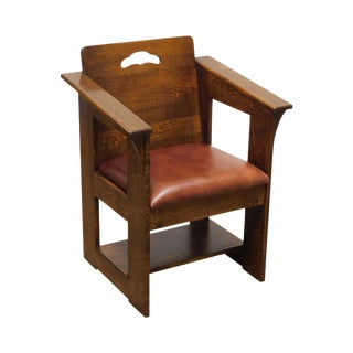 Stickley Mission Collection Oak Limbert Cafe Armchair For Sale