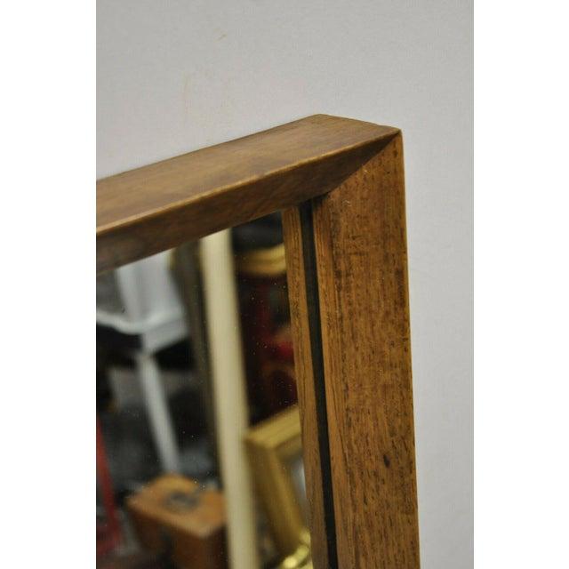 Vintage Mid Century Modernist Walnut Rectangular Wall Dresser Deep Frame Mirror For Sale - Image 10 of 11