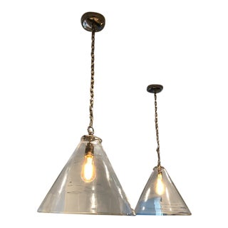 Thomas O'Brien for Visual Comfort Polished Nickel Katie Conical Pendants - a Pair For Sale