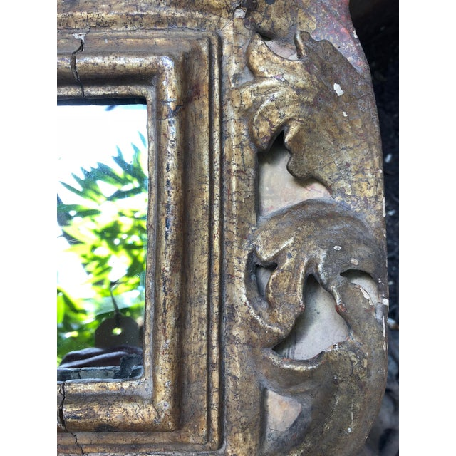 Gold 18th Century Small Italian Mirror For Sale - Image 8 of 13