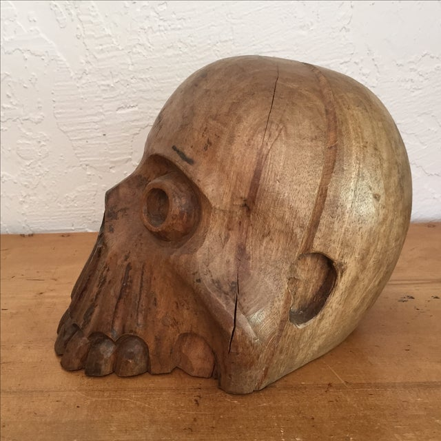 Vintage Paper Mache Mold Wood Skull - Image 4 of 8