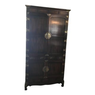 Oversized Asian Wood Cabinet For Sale