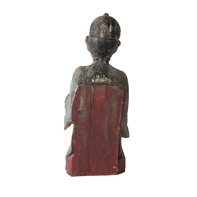 Late Qing Dynasty Carved Wooden Ancestor Sculpture - Image 2 of 3