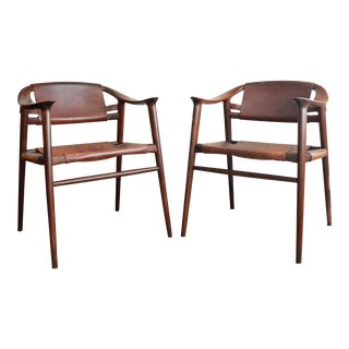 Vintage Rolf Rastad & Adolf Relling for Gustav Bahus Leather Bambi Chairs- a Pair For Sale