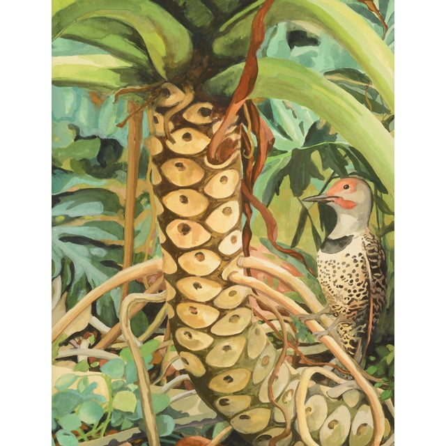 """Glass Laurie Flaherty """"Reflection"""" Contemporary Flora and Fauna Gouache Painting For Sale - Image 7 of 7"""