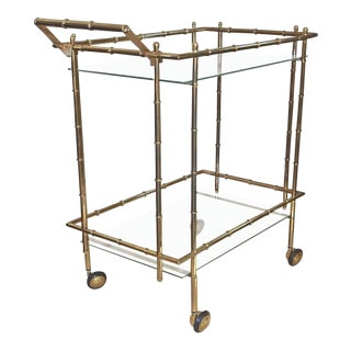 1970s Mid-Century Modern Faux Bamboo Brass Bar Cart For Sale