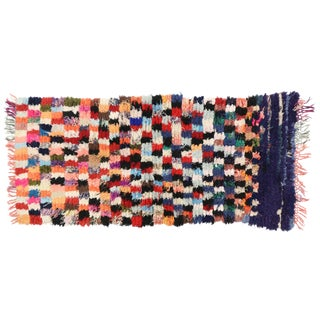 1980s Vintage Berber Tribes of Morocco Boucherouite Shag Accent Rug - 2′6″ × 5′5″ For Sale